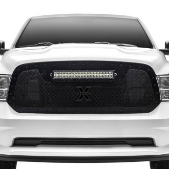 "T-Rex® - 1-Pc Stealth Torch Series Black Formed Mesh Grille with 1 x 20"" Top Frame Mounted LED Light Bar"