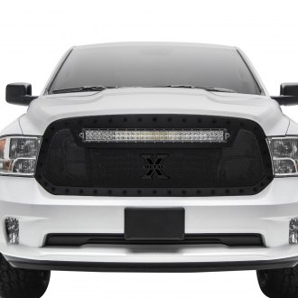"T-Rex® - 1-Pc Stealth Torch Series Black Formed Mesh Grille with 1 x 30"" Curved LED Light Bar"