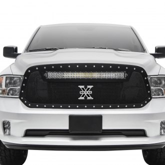 "T-Rex® - 1-Pc Torch Series Black Formed Mesh Grille with 1 x 30"" Curved LED Light Bar"