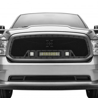 "T-Rex® - 1-Pc Stealth Torch Series Black Formed Mesh Grille with 1 x 12"" LED Light Bar and 2 x 3"" LED Light Cubes"