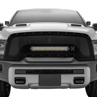 "T-Rex® - 1-Pc Stealth Torch Series Black Formed Mesh Grille with 1 x 20"" Bottom Frame Mounted LED Light Bar"