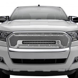 "T-Rex® - 1-Pc Torch Series Polished Formed Mesh Main Grille with 1 x 20"" Slim LED Light Bar"