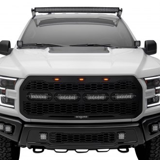 "T-Rex® - 1-Pc Revolver Series Raptor-Style Black CNC Machined Grille with 4 x 6"" ZROADZ LED Light Bars"