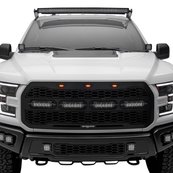 T-Rex® - Ford F-150 2017 1-Pc Revolver Series Raptor-Style Black CNC Machined Grille with 4 x 6 ...