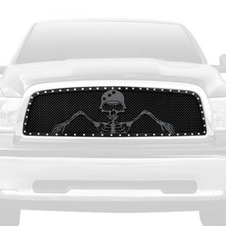 "T-Rex® - 1-Pc Urban Assault ""Grunt"" Series Custom Opening Flat Black Mesh Grille"