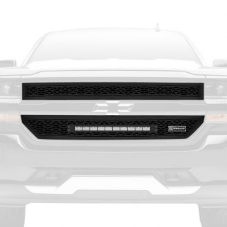 "T-Rex® - 2-Pc ZROADZ Series Black CNC Machined Grille with 1 x 20"" Slim Single Row LED Light Bar"