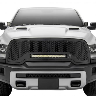 "T-Rex® - 1-Pc ZROADZ Series Black CNC Machined Grille with 1 x 20"" Slim Single Row LED Light Bar"