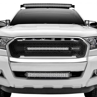 "T-Rex® - 1-Pc ZROADZ Series Black CNC Machined Main Grille with 1 x 20"" Slim Single Row LED Light Bar"