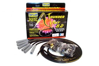 Taylor Cable® - Black ThunderVolt™ 8.2mm Ferrite Core Performance Ignition Wire Set (180 Degree Plug Boot)