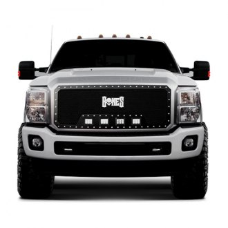 Tiarra® - 1-Pc Bones Series Black Single Weave Mesh Main Grille with HID Lights
