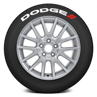 "Tire Stickers® - ""Dodge"" Tire Lettering Kit with Red Dashes"