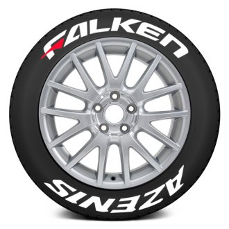 "Tire Stickers® - ""Falken Azenis"" Tire Lettering Kit with Red Dashes"
