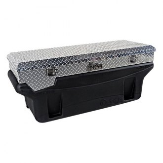 Titan® - Compact Silver Diamond Plate Toolbox for In-Bed Fuel Tank