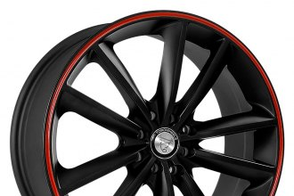 "TOOROO® - TR9012 Matte Black with Red Stripe (17"" x 7"", +40 Offset, 4x108 Bolt Pattern, 73.1mm Hub)"