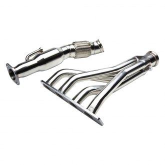 Torxe™ - Stainless Steel Polished Long Tube Exhaust Headers with Downpipe