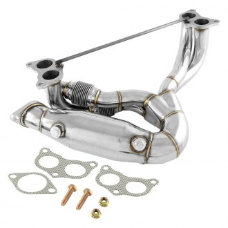 Torxe™ - JDM Racing 4-1 Equal Length 304 SS Polished Mid-Length Tube Exhaust Header with High Flow Internal Sleeved Flex Pipe and Catalytic Converter