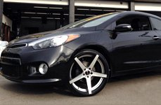 TOUREN® - TR20 Matte Black with Machined Face and Undercut on Kia Forte Koup