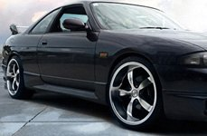 TOUREN® - TR6 Black with Machined Face and Lip on Nissan Skyline