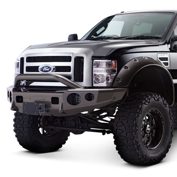 trailready ford f 250 super duty 2008 full width black front winch hd bumper with pre runner. Black Bedroom Furniture Sets. Home Design Ideas