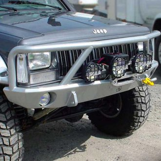 TrailReady® - Full Width Front HD Winch Black Powder Coated Winch Bumper with Grille Guard