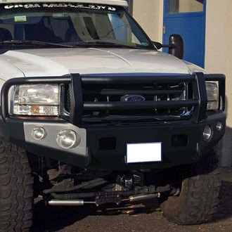 TrailReady® - Full Width Front HD Winch Black Powder Coated Bumper with Grille Guard