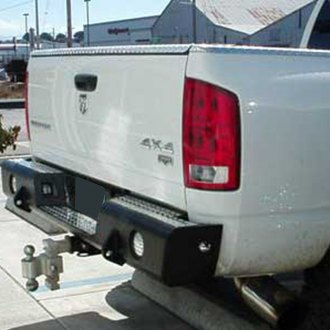TrailReady® - Full Width Rear HD Black Powder Coated Bumper with Hitch, Light Mounts, D-Rings