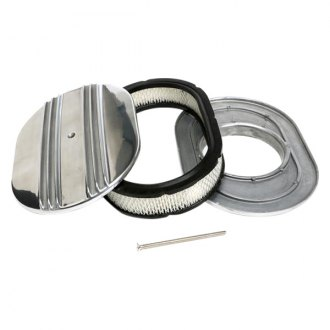 "Trans-Dapt® - Finned Style Oval Aluminum Polished Air Cleaner Assembly (12"" x 8.375"" x 2"")"