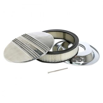 "Trans-Dapt® - Finned Style Round Aluminum Polished Air Cleaner Assembly (14"" X 3"")"