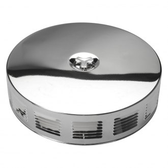 "Trans-Dapt® - Louvered Corvette Style Chrome Air Cleaner Assembly (14"" X 3"")"