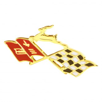 "Trim Parts® - ""Gold X-Flag"" Rear Quarter Emblems"