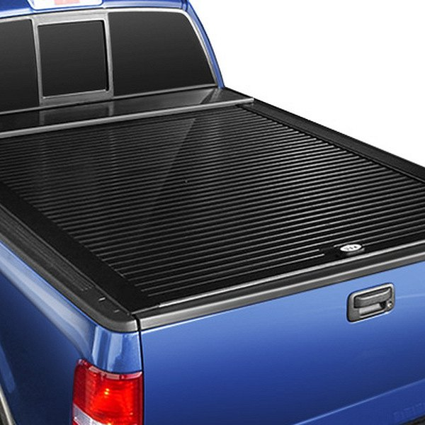 Image may not reflect your exact vehicle! Truck Covers USA® - Retractable American Roll Tonneau Cover, Closed
