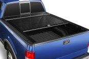 Image may not reflect your exact vehicle! Truck Covers USA® - Retractable American Roll Tonneau Cover, Mid Open