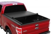 Image may not reflect your exact vehicle! TruXedo® - Lo Pro QT™ Harley-Davidson Edition Roll-Up Tonneau Cover, Mid Open