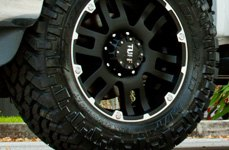 TUFF® - T04 Flat Black with Machined Flange on Ford F-250