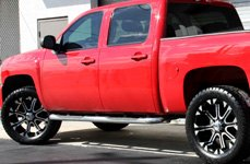 TUFF® - T13 Flat Black with Machined Face and Flange on GMC Sierra