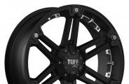 "TUFF® - T01 Flat Black with Chrome Inserts (18"" x 9"", +25 Offset, 6x139.7 Bolt Pattern, 106.1mm Hub)"