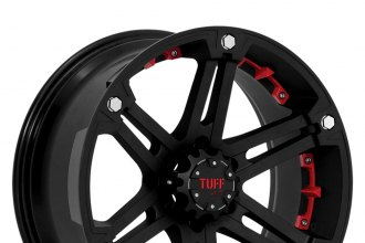 "TUFF® - T01 Flat Black with Red Inserts (18"" x 9"", +10 Offset, 5x114.3 Bolt Pattern, 78.1mm Hub)"
