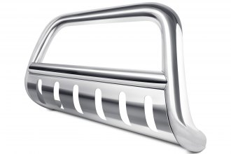 "Image may not reflect your exact vehicle!Tuff-Bar® - 3"" Polished Bull Bar with Brushed Skid Plate"