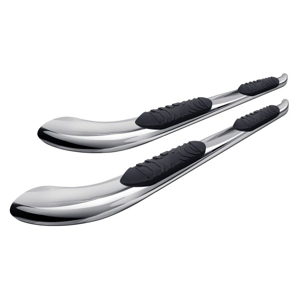 "Image may not reflect your exact vehicle! Tuff-Bar® - 5"" Polished Oval Tube Step Bars with 30 Degree Bend"
