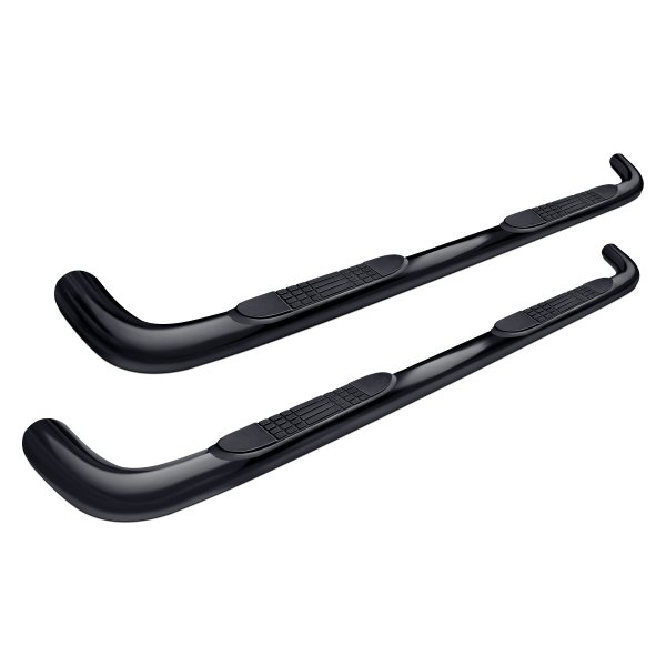 "Image may not reflect your exact vehicle! Tuff-Bar® - 3"" Cab Length Black Powdercoat Round Bent Tube Step Bars"