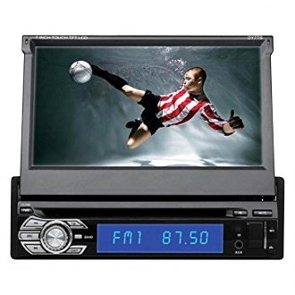 "Tview® - Single DIN DVD/CD/AM/FM/MP3/WMA/MP4 Receiver with Motorized 7"" Touchscreen Display and Built-In Bluetooth"