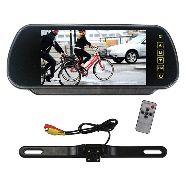 "Tview® - Rear View Mirror with Built-in 7"" Monitor and License Plate Mount Camera"