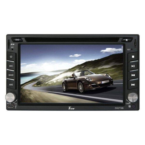 "Tview® - Double DIN DVD/CD/AM/FM/MP3/WMA/MP4/AVI Receiver with 6.2"" Touchscreen Display Built-In Bluetooth and Steering Wheel Control"