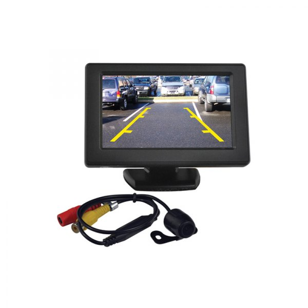 tview rv43c rear view mirror with built in 4 3 monitor and back up camera. Black Bedroom Furniture Sets. Home Design Ideas
