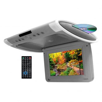 "Tview® - 10.1"" Gray Flip Down TFT Monitor with Built-In Slot Type DVD Player"