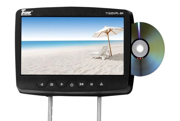 "Tview® - Black Headrest with 10.1"" TFT Monitor and Built-In DVD Player"