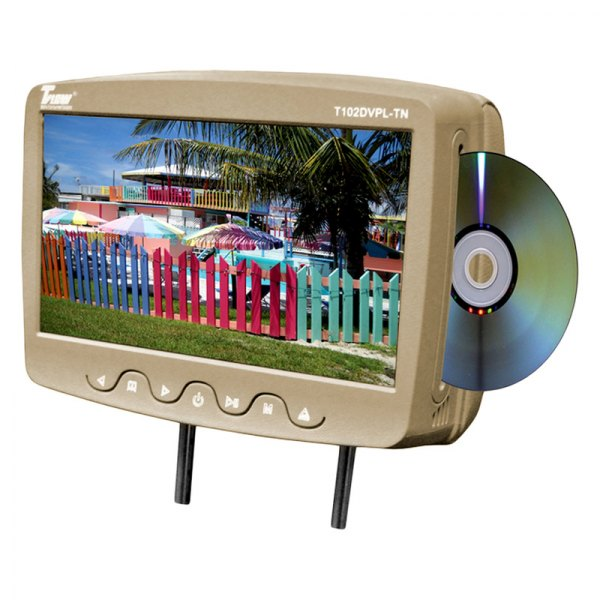 "Tview® - Tan Headrest with 10.1"" TFT Monitor and Built-In DVD Player"
