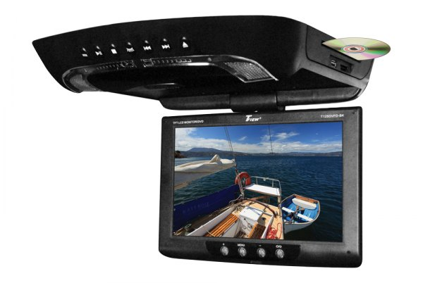 "Tview® - 12"" Black Flip Down TFT Monitor with Built-In DVD Player"