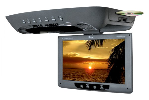 "Tview® - 12"" Gray Flip Down TFT Monitor with Built-In DVD Player"