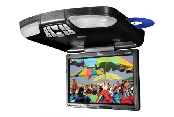 "Tview® - 13"" Black Flip Down Monitor with Built-In DVD/USB/SD Player"